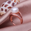 Pink/ White 10 - 11mm Freshwater Off-Round Bridal Pearl Ring