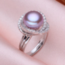 Beautiful Pink/ White/ Purple 11 - 12mm Freshwater Off-Round Pearl Ring
