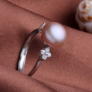 Beautiful Pink/ White/ Orange 9 - 10mm Freshwater Off-Round Pearl Ring