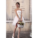 Simple Satin Tulle Strapless A-Line Short Beach Wedding Dresses