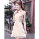 Cheap Halter Chiffon A-Line Short Summer Beach Wedding Dresses with Rhinestone Best