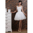 Discount Satin Tulle Straps A-Line Short Summer Beach Wedding Dresses with Sequined Bodice
