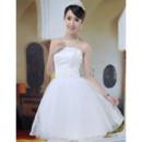 Beautiful A-Line Strapless Satin Organza Short Dresses for Summer Beach Wedding