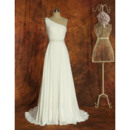 Elegant One Shoulder Full Length Summer Beach Chiffon Wedding Dresses with Crystal Beaded Waistband