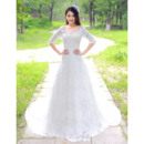 Elegance A-Line V-Neck Court Train Lace Wedding Dresses with Half Sleeves