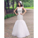 Romantic Garden Trumpet Scoop Neck Lace Tulle Full Length Wedding Dresses with Crystal Detailing
