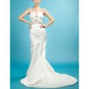 Shimmering Rhinestone Beading Sheath Sweep Train Satin Wedding Dresses with Bow
