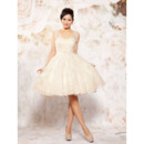 Romantic Ball Gown Beaded Short Organza Wedding Dresses with Lace Appliques