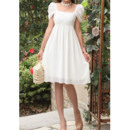 Classy Cap Sleeves Square Chiffon Empire Short Dresses for Summer Beach Wedding