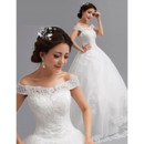 Princess Gorgeous Beaded Appliques Off-the-shoulder Ball Gown Tulle Wedding Dresses