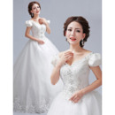 Gorgeous Princess Rhinestone Beading V-Neck Full Length Ball Gown Tulle Wedding Dresses