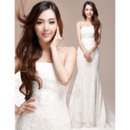 Clean and Modern Mermaid Strapless Sweep Train Formal Lace Wedding Dresses