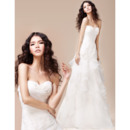 Pretty Ruched Sweetheart A-Line Organza Wedding Dresses with Layered Draped High-Low Skirt