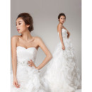 Sophisticated Pleated Bust Sweetheart Organza Wedding Dresses with Breathtaking Layered Skirt