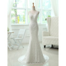 Sexy Mermaid/ Trumpet Lace V-Neck Brush Train Dresses for Spring Wedding