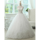 Modern Princess Crystal Appliques V-Neck Ball Gown Tulle Wedding Dresses with Lace Bodice