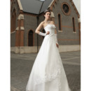 Shimmering Crystal Beaded A-Line Tulle Wedding Dresses with Asymmetrical Draping