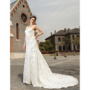 Elegant A-Line Sweetheart Sweep Train Lace Wedding Dresses with Hand-made Flowers