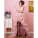 Luxurious High-Low Organza Strapless A-Line Formal Evening Dresses