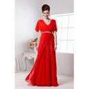 Classic Column/ Sheath Chiffon Cap Sleeves V-Neck Long Evening Dresses