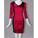 Fabulous Column/ Sheath V-Neck Long Sleeves Satin Short Mother of the Bride/ Groom Dresses