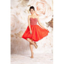 Popular A-Line Sweetheart Short/ Mini Taffeta Beaded Homecoming Dresses