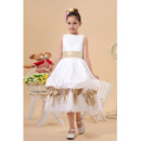 Sweet Discount A-Line Bateau Pick-Up Skirt Tea Length Satin Flower Girl Dresses with Beaded Appliques