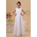 Couture Bateau Neckline Floor Length White First Communion Dresses with Appliques Tulle Skirt