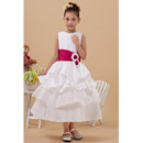 Cute Layered Skirt A-Line Bateau Tea Length Satin Plus Size Flower Girl Dresses
