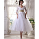 Pretty A-Line Double V-Neck Reception Wedding Dresses with Half Illusion Sleeves
