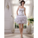 Luxury and Shimmering Beaded Short Wedding Dresses with Ruched Tiered Skirt