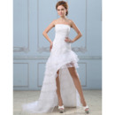 Modern Beaded Bodice High-Low Wedding Dresses with Organza Tiered Skirt