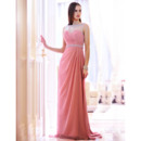 Sexy Column/ Sheath Bateau Stylish Chiffon Floor Length Evening Dresses