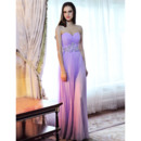 Fashionable Sexy Column/ Sheath Pleated Chiffon Sweetheart Floor Length Empire Evening Dresses