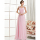 Simple A-Line Round/ Scoop Inexpensive Custom Chiffon Floor Length Evening Dresses