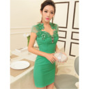 Inexpensive Sexy Sheath Sweetheart Short Homecoming Dresses with Short Sleeves