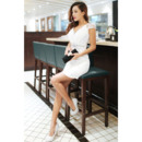 Affordable Column/ Sheath V-Neck Short Sleeves Short/ Mini Satin Organza Homecoming Dresses