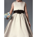 Discount A-Line Long Length Shirred Skirt Satin Flower Girl Dresses with Sashes and Bows