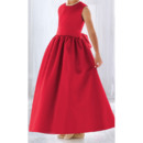 Affordable Simple Ball Gown Round Ankle Length Satin Flower Girl/ Easter Dresses with Shirred Skirt