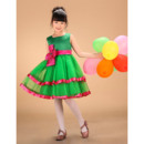 Custom Affordable A-line Square Layered Skirt Color Block Little Girls Holiday Dresses with Sashes