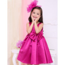Simple Empire Round/ Scoop Neck Sleeveless Short Satin Little Girls Holiday Dresses with Sequin Waist