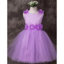 Pretty Ball Gown Bateau Short Satin Tulle Little Girls Party Dresses/ Flower Girl Dresses for Less with Hand-made Flowers