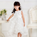 Beautiful Ball Gown Bateau Neck Knee Length Lace Flower Girl Dresses with 3D Floral Applique