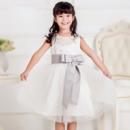 Custom Lovely Ball Gown Beaded Round Neck Short Flower Girl Dresses with Bow Sashes
