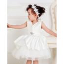 Cute Ball Gown V-Neck Satin Tulle Pleated Knee Length Layered Skirt Flower Girl Communion Dresses