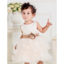 Cute Ball Gown Round Tulle Bubble Skirt Flower Girl Communion Dresses with Beaded and Flower Waistband