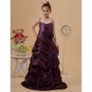 Discount A-line Spaghetti Straps Full Length Taffeta Pic-up Girls Party Dresses with Crystal Detailing