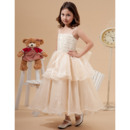 Discount Pretty Ball Gown Spaghetti Straps Tea Length Layered Skirt Organza Little Girls Party Dresses with Ruching