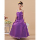 Affordable Beautiful Ball Gown Spaghetti Straps Full Length Taffeta Little Girls Party/ Flower Gril Dresses with Ruching