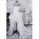 Sexy Beaded Strapless High-Low Asymmetrical Hem Organza Wedding Dresses